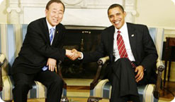 President Barack Obama shakes hands with United Nations Secretary-General Ban Ki-moon in the Oval Office of the White House March 10, 2009, in Washington, D.C. Photo credit, Aude Guerrucci/Getty Images